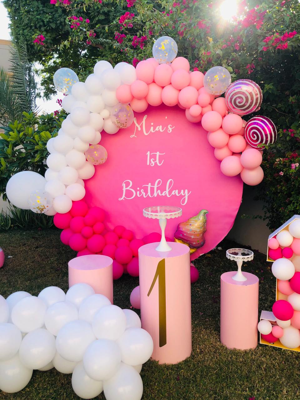 Candle decoration for 1st birthday of a girl baby